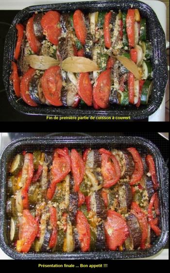 Présentation du plat en deux étape - Après la cuisson couverte - En fin de cuisson à découvert